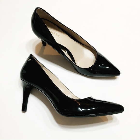 29a2af25b2c Calvin Klein Nilly Black Patent Leather Pump Heels